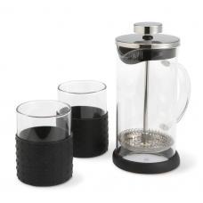 Cafeteira e 2 copos em vidro